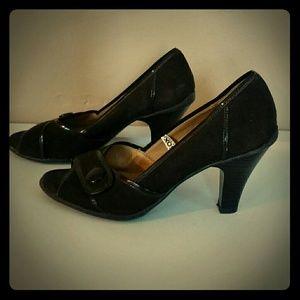 Merona Size 9 Brown Suede Open Toe Heels